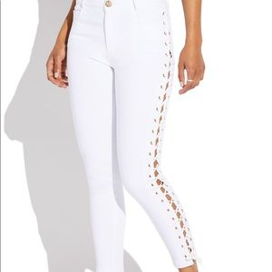 Denim - White lace up skinnies